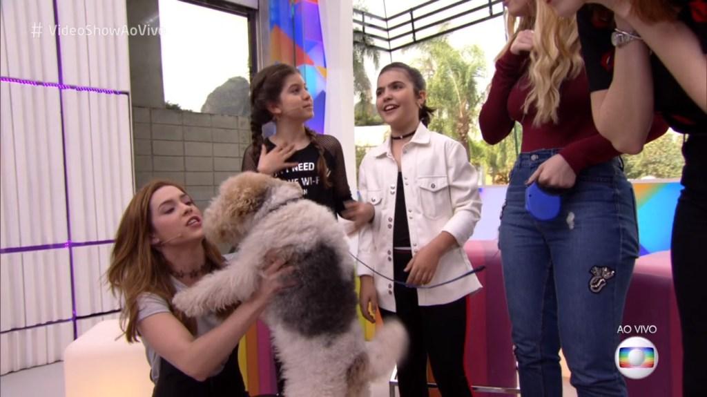 O elenco de O Tempo Não Para no Video Show, com o cachorro