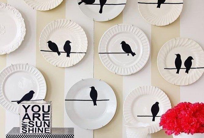 Pratos decorativos de parede pássaros