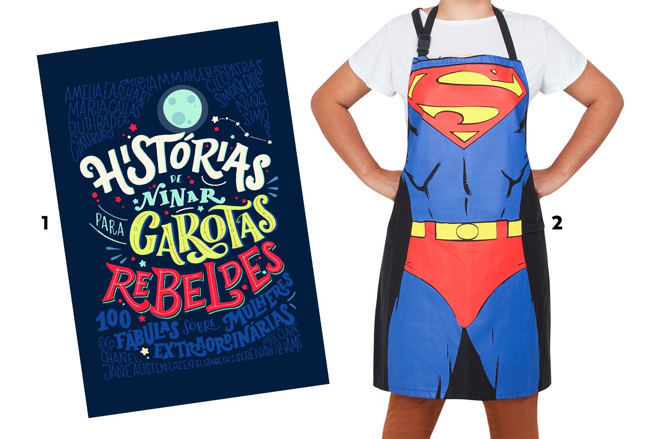 Livro Histórias de Ninar para Garotas Rebeldes e avental super-homem - ideias de presentes criativos de Natal