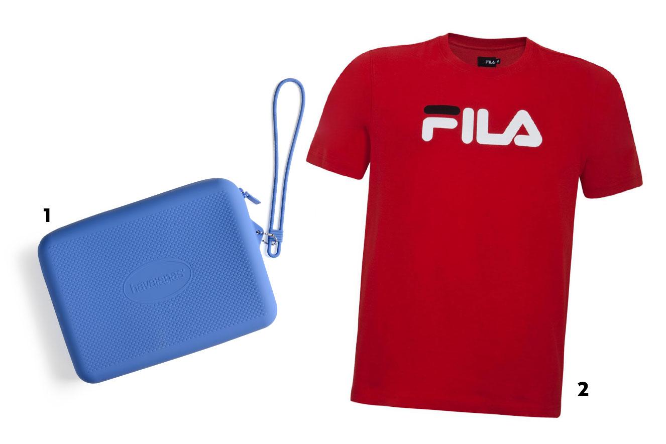 Necessáire de borracha e camiseta vermelha com logo - ideias de presentes de Natal criativos