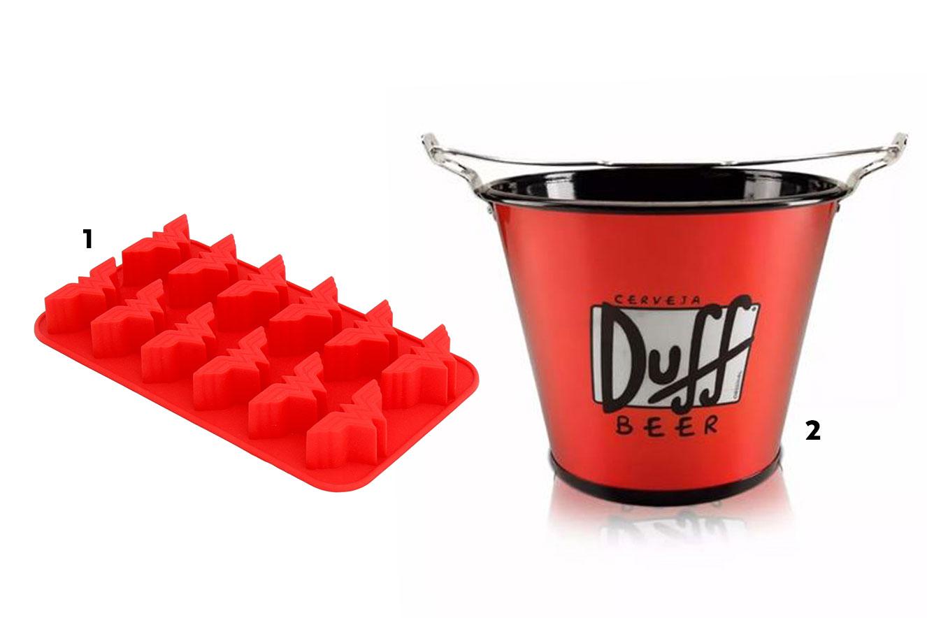 Forminhas de gelo mulher-maravilha e balde de gelo cerveja Duff - ideias de presentes de Natal criativos