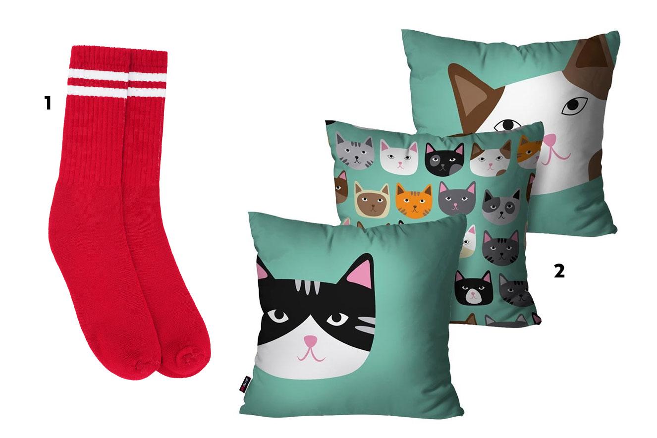 Meias vermelhas com detalhe branco e trio de almofadas com estampa de gatinho - ideias de presentes de Natal criativos