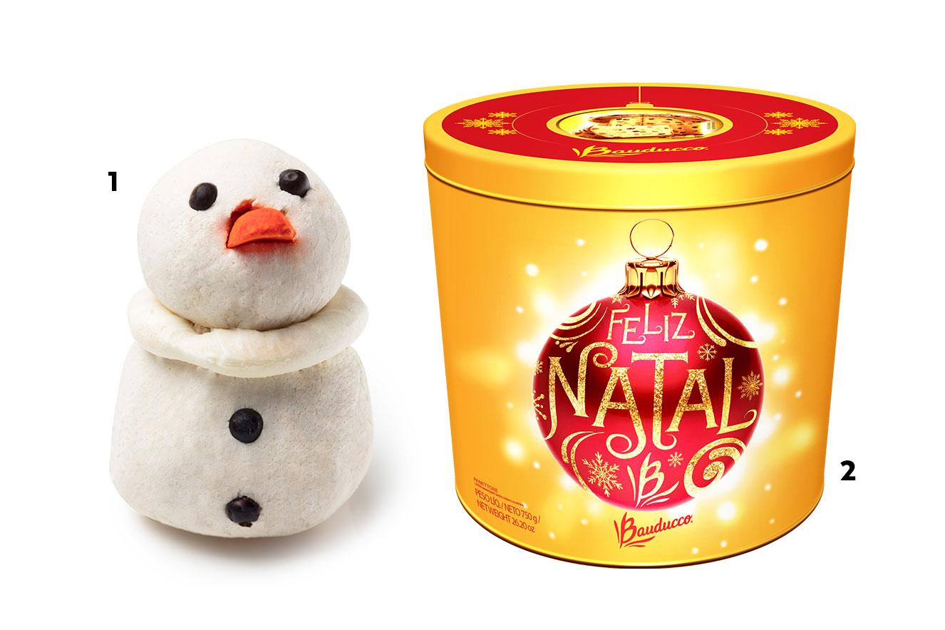 Espuma de banho em forma de boneco de neve e caixa de panettone - ideias de presentes de Natal criativos