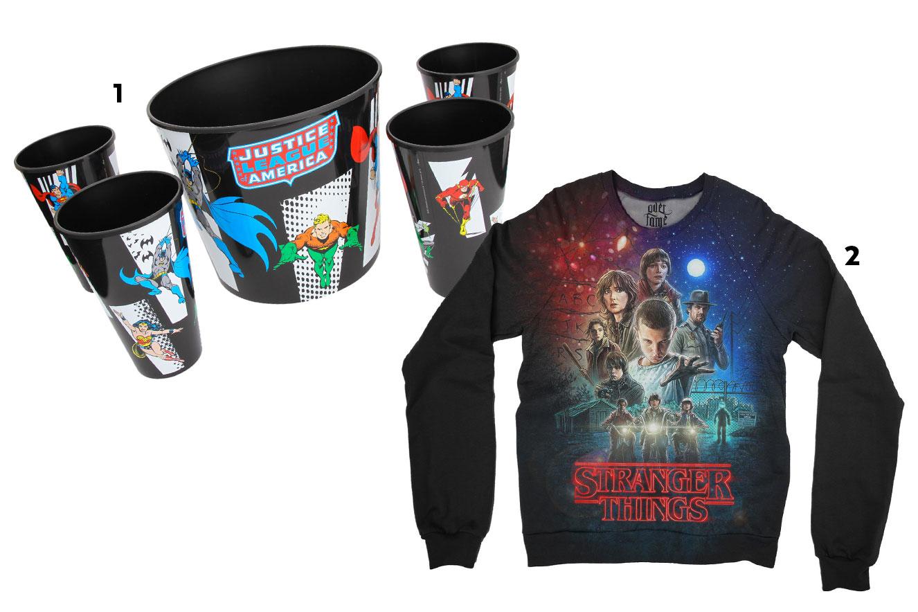 Jogo de pipoca com balde e copos e estampa dos heróis da DC Comics + moletom Stranger Things - ideias de presentes de Natal criativos