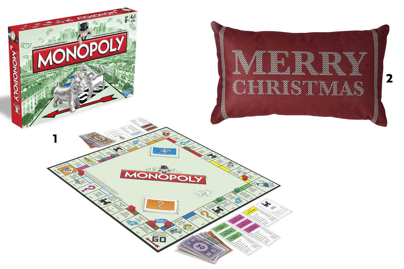 Jogo de tabuleiro Monopoly e almofada temática Merry Christmas - ideias de presentes de Natal criativos