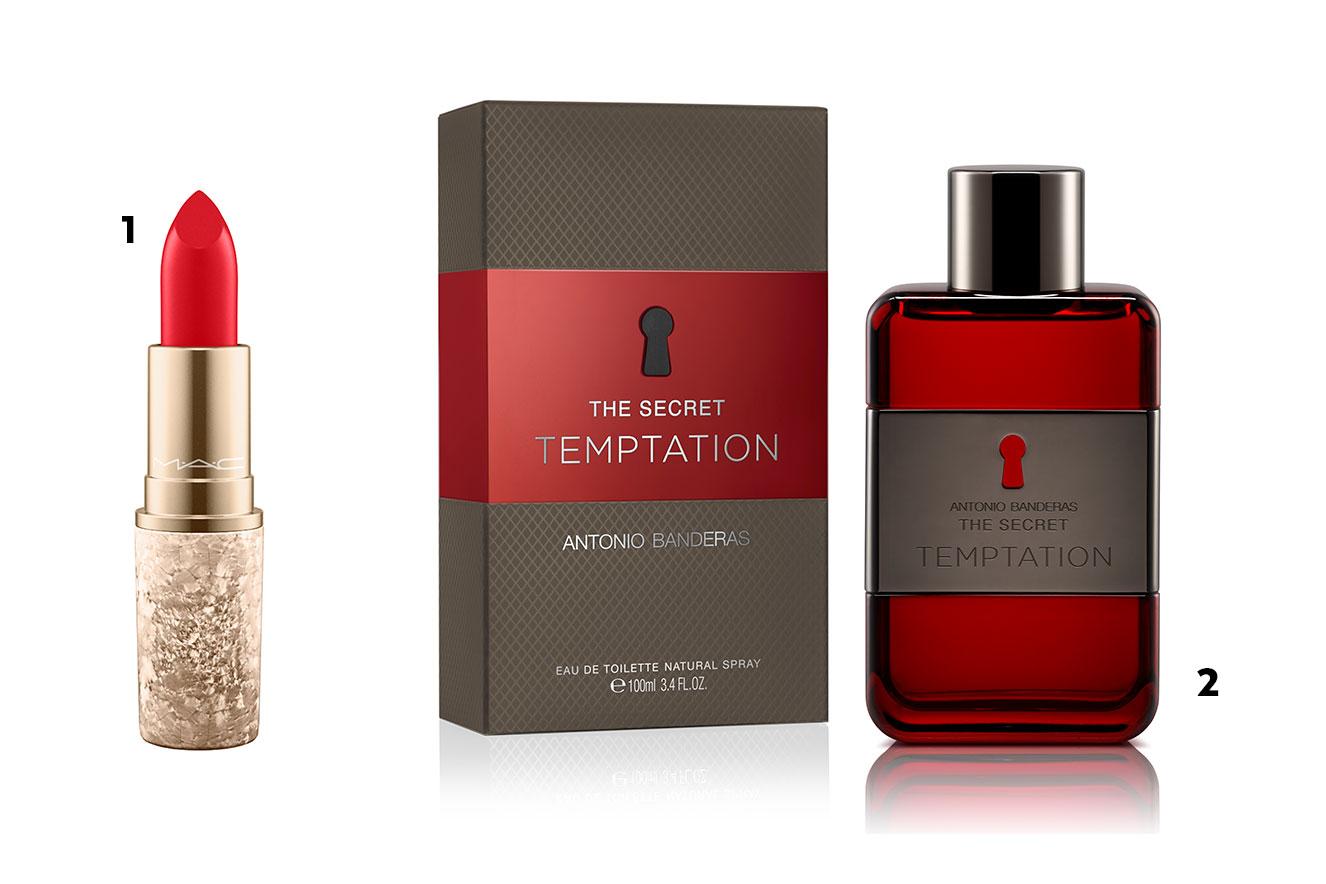 Batom vermelho com embalagem dourada e frasco e caixa de perfume - ideias de presentes de Natal criativos