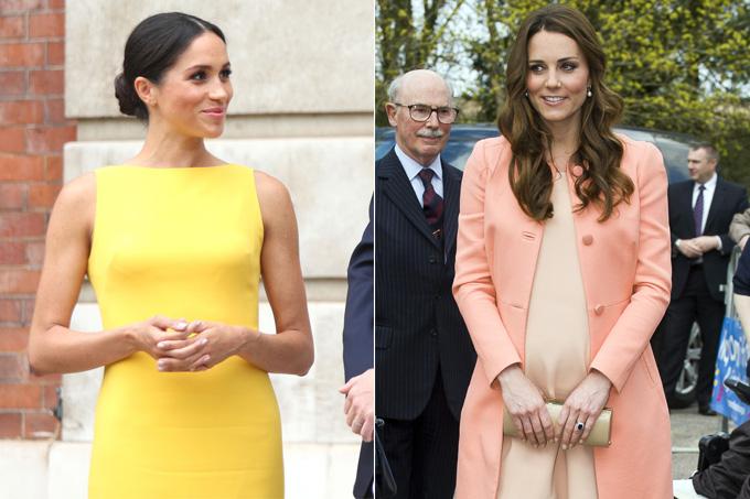 Protocolos da família real britânica - esmalte - Meghan e Kate