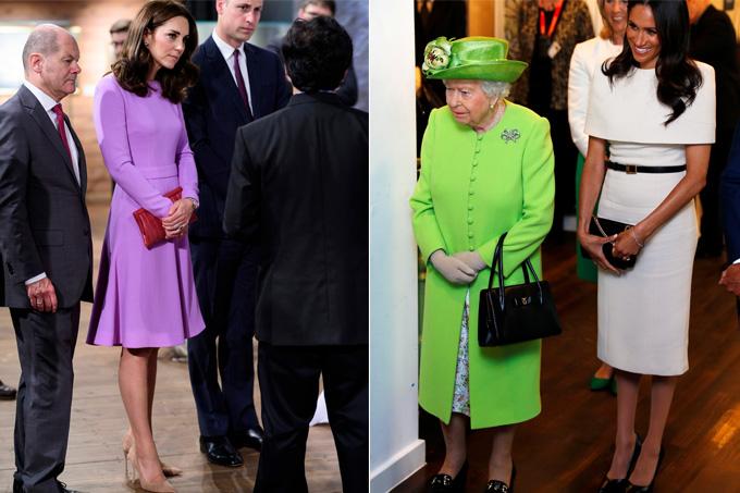 Protocolos da família real britânica - saia - Kate e Meghan