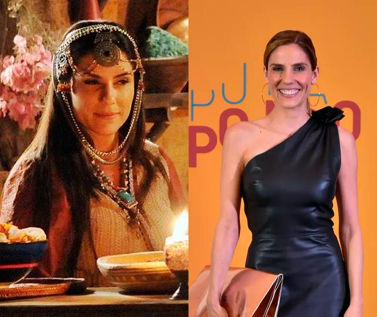Rafaela Mandelli em 'A Terra Prometida' e na festa de lançamento de 'O Tempo Não Para'