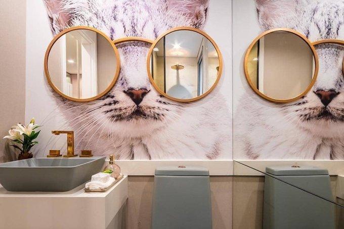 Revestimento parede banheiro gato