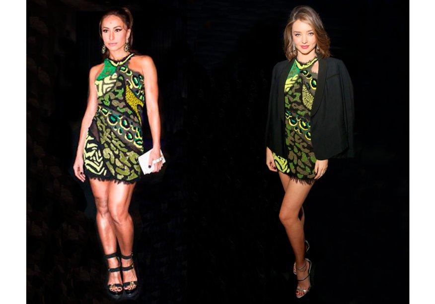 <strong>Sabrina Sato</strong> e <strong>Miranda Kerr</strong>vestem <strong>Versace</strong>. Sabrina usou o vestido no evento delançamento da edição de julho da RevistaESTILO nobar Número, em São Paulo. Já Miranda, com blazer sobre os ombros,usou o modelo em festa da Warnerem Los Angeles.