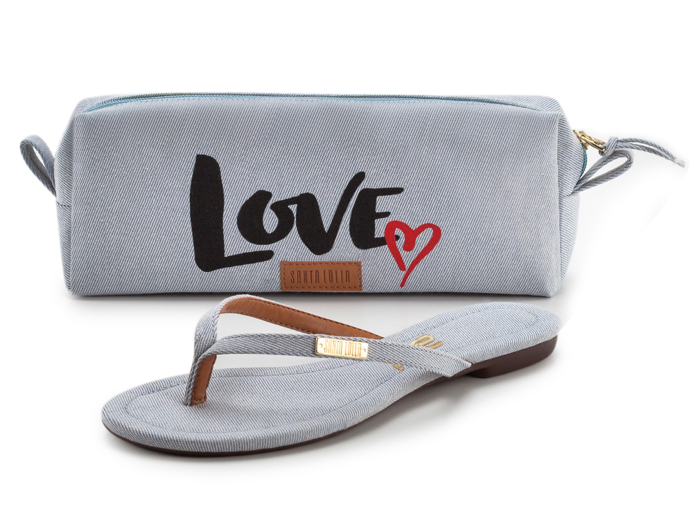 Necessaire e rasteira jeans - Santa Lolla