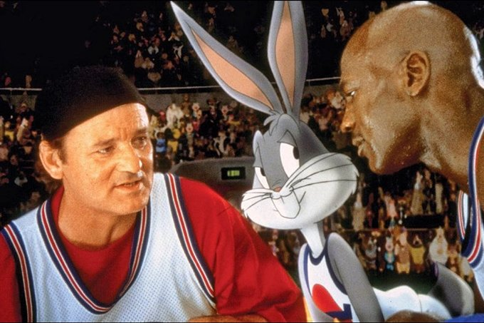 'Space Jam', de 1996, unia a turma do Pernalonga com atletas do basquete norte-americano.