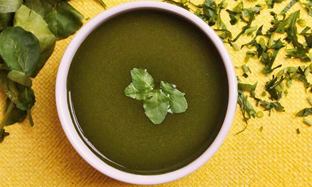 Sopa de agrião com batata baroa