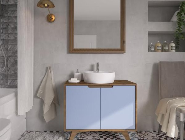gabinete banheiro azul