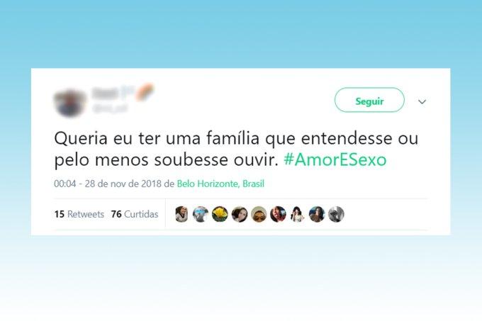 Tweet sobre programa Amor&Sexo