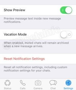 'Modo Férias'- Atualização WhatsApp