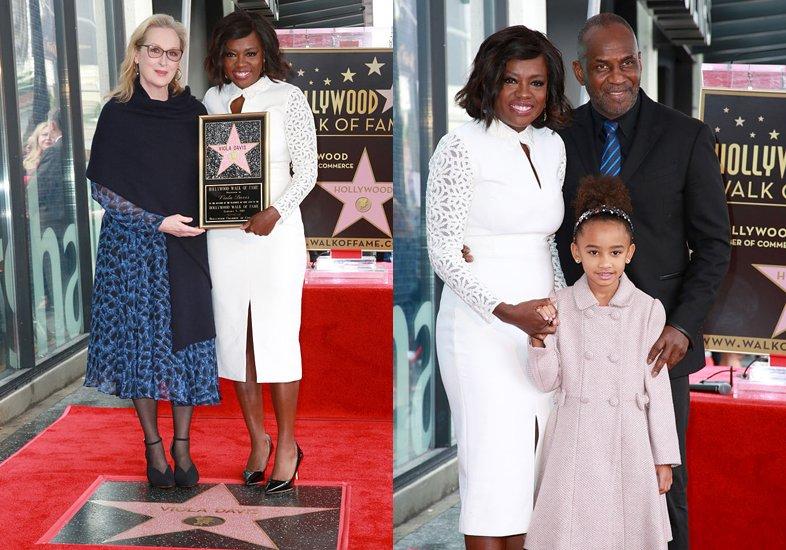 Viola Davis com Meryl Streep e com a família
