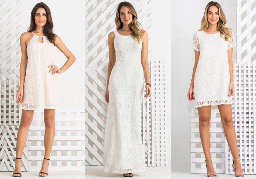 <strong>Zinzane.</strong>São seis vestidosfeitos especialmente para a data, todos na cor brancae com detalhes em renda. Há opções de comprimento curto e longo - algumas, com recortes estratégicos.