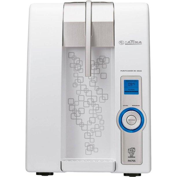 Com display digital e sistema de controle eletrônico de temperatura da água, o PA755 (30 x 32 x 43,5 cm), da Latina, avisa a hora de trocar o filtro. Shoptime, R$ 597.
