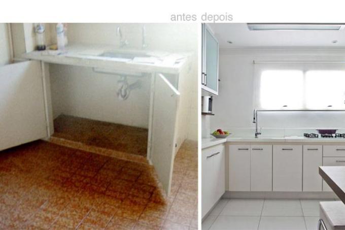 Antes e depois: cozinha e lavanderia em 13 m²