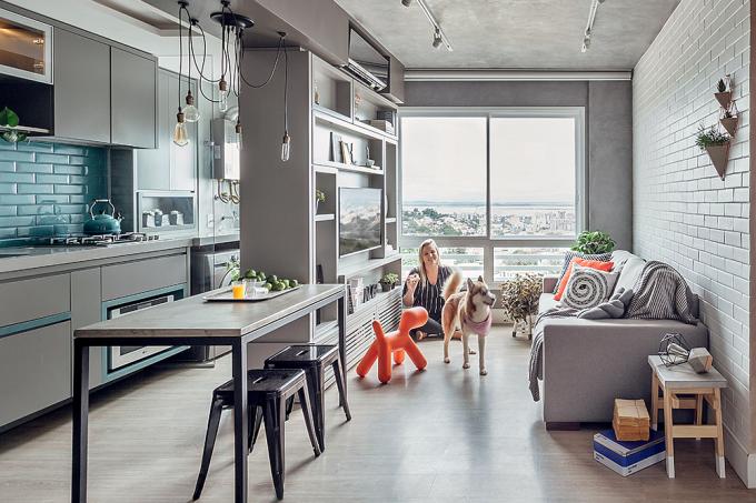 apartamento de 54 m² com décor em estilo industrial1