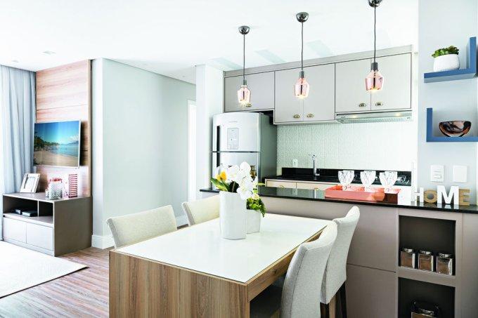 Apartamento de 61 m² com conceito aberto jantar 1