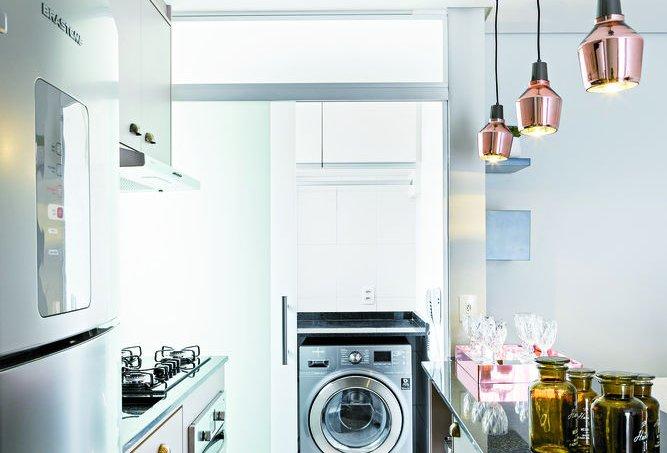 Apartamento de 61 m² com conceito aberto lavanderia