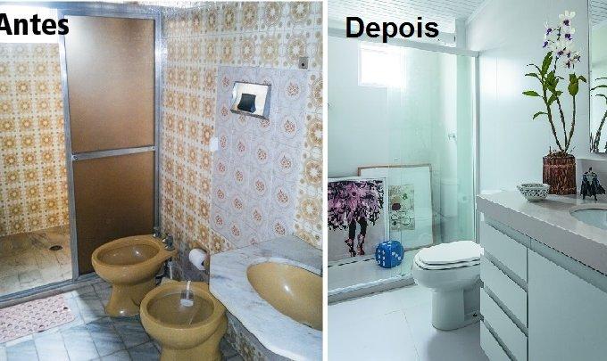 Banheiro social conquista luminosidade com revestimentos claros antes e depois