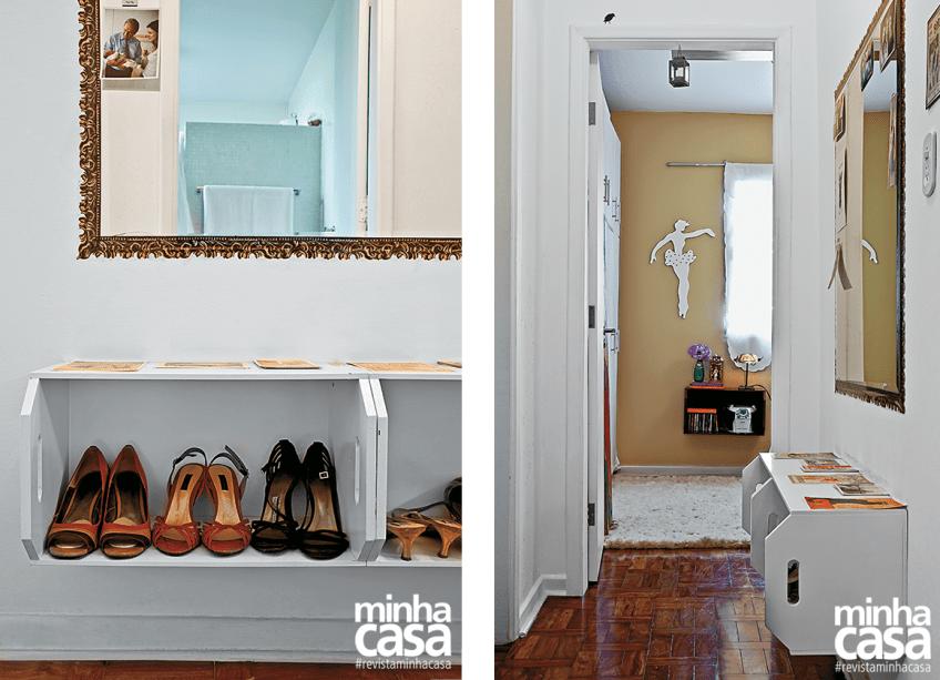 No apê da arquiteta Ana Flávia Dal Fabbro os sapatos de uso frequente ficam em uma sapateira montada com caixotes no corredor.