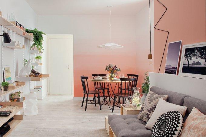 Estilo escandinavo salas de estar e jantar integradas e espaçosas (2)
