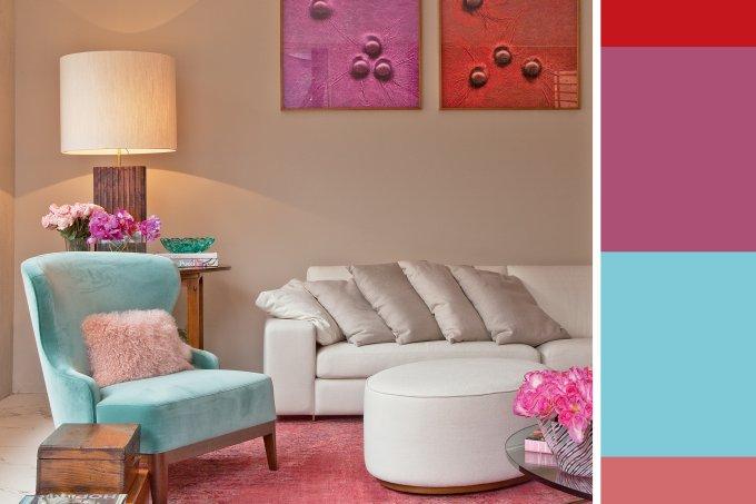 jogo de cores sala de estar em cores adocicadas
