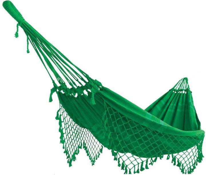 Rede Simples Verde Bandeira, de algodão, tamanho 2,55 x 1,55 m. Paraíso das Redes, R$ 97,77 7. Vasinho com gancho, de metal (11 cm de diâmetro). Leroy Merlin, R$ 22,90 cada.