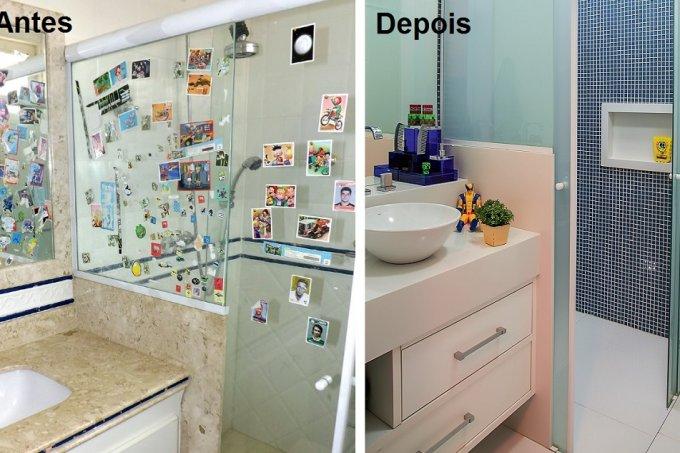 Revestimentos atuais rejuvenescem banheiro antes e depois
