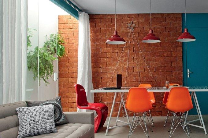 Salas de estar e jantar Cores ditam o clima quente e impactante6
