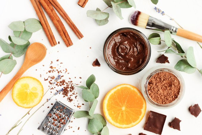 Chocolate skincare mask. Natural ingredients for making beauty treatment products.