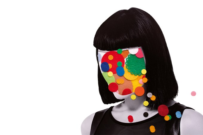 collage of woman with felt circles on head