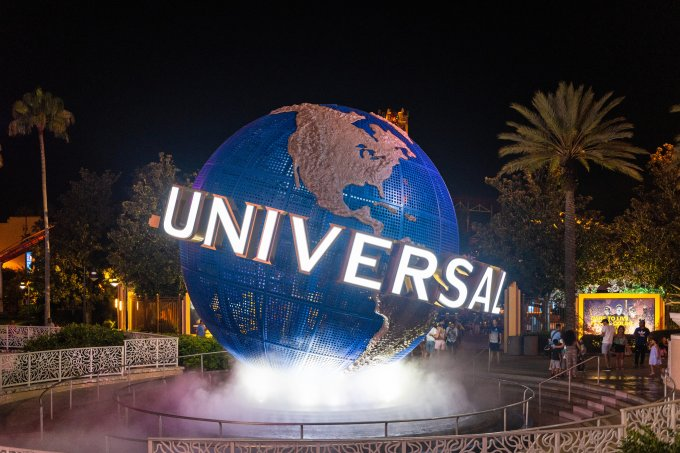 The 3d logo of Universal Studios is seen during the