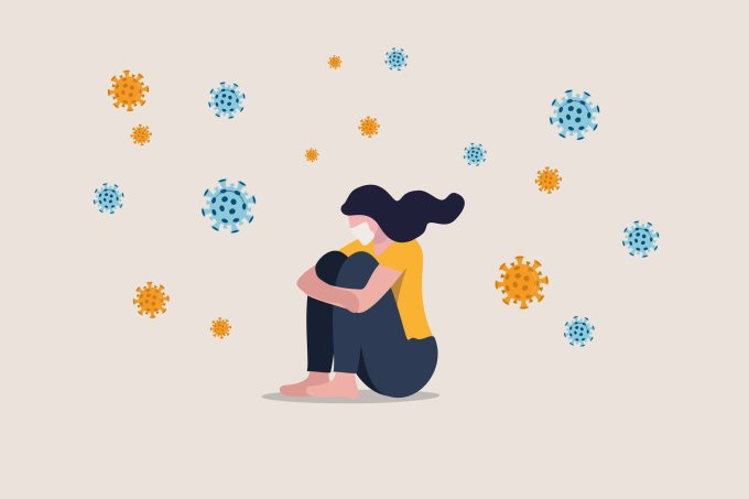 Ilustração coronavirus quarentena distanciamento social