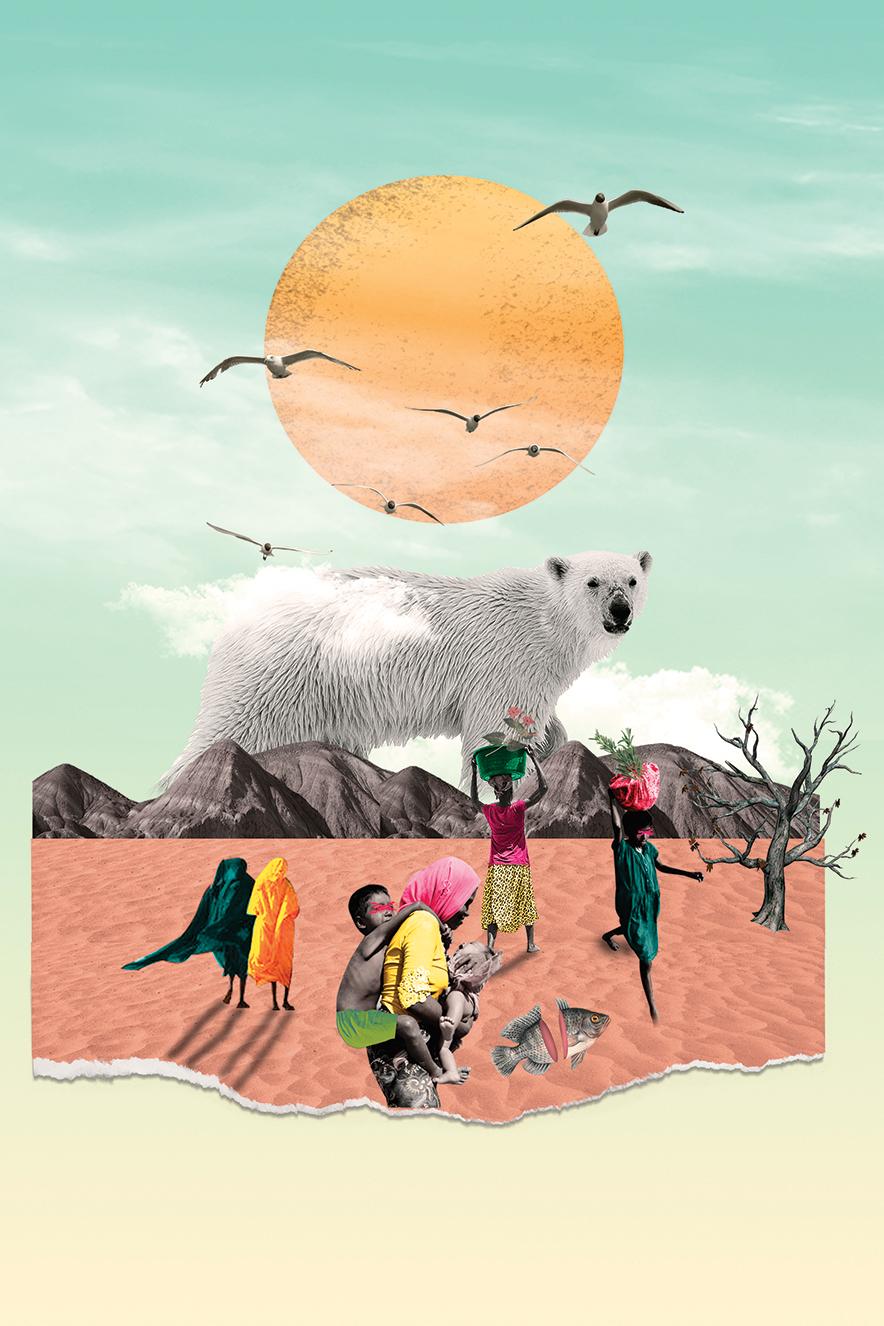 Uma ilustração com urso polar grande ao centro, sob um sol com pássaros e nuvens. Abaixo dele, há uma montanha e um chão de terra cor de rosa.