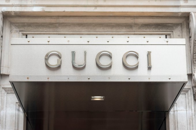 Gucci branding on their store in the prestigious Old Bond