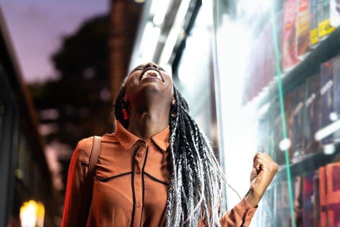 Afro Woman Celebrating
