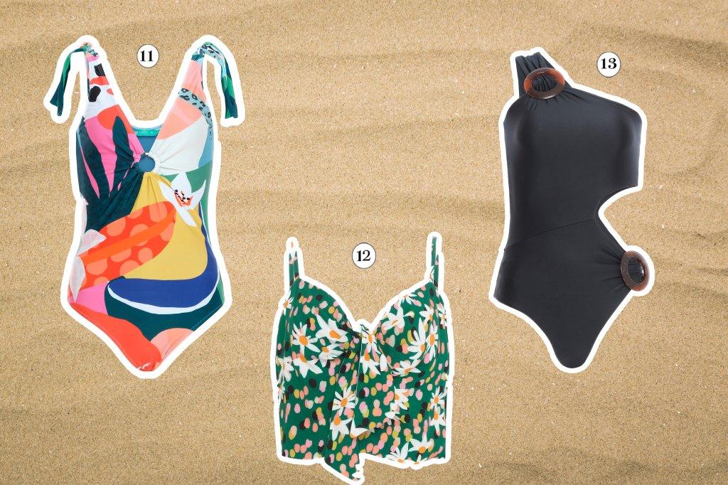 Seleção com três maiôs da coleção de verão da C&A