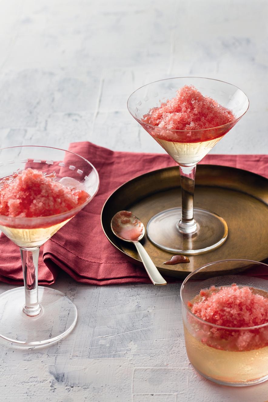 Gelatina de prosecco com granita de melancia