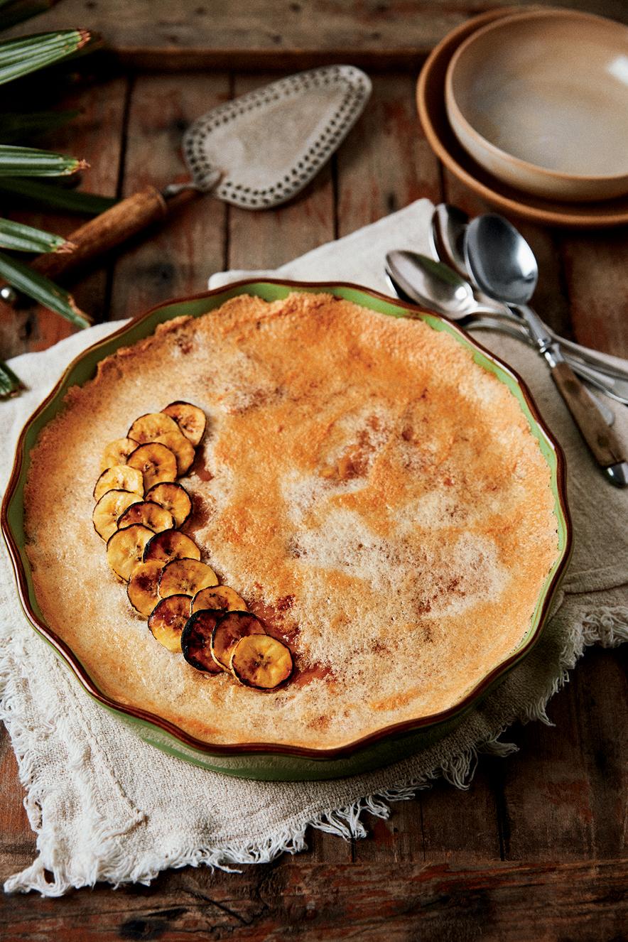 Torta de banana com creme de paçoca - Sabores do Brasil