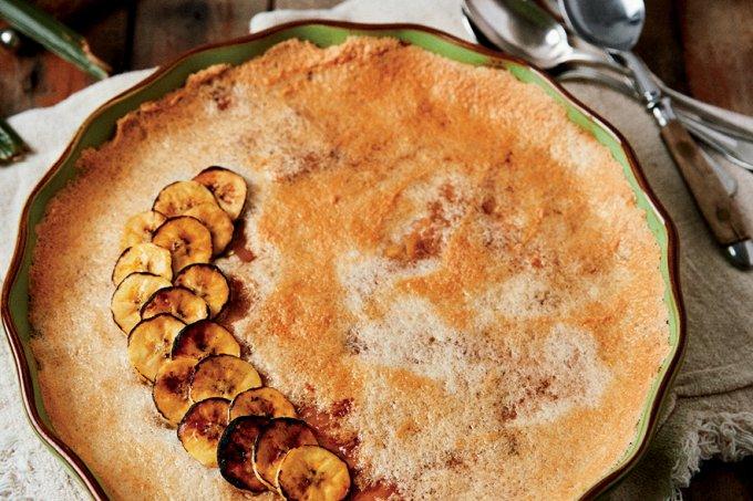 Torta de banana com creme de paçoca – Sabores do Brasil