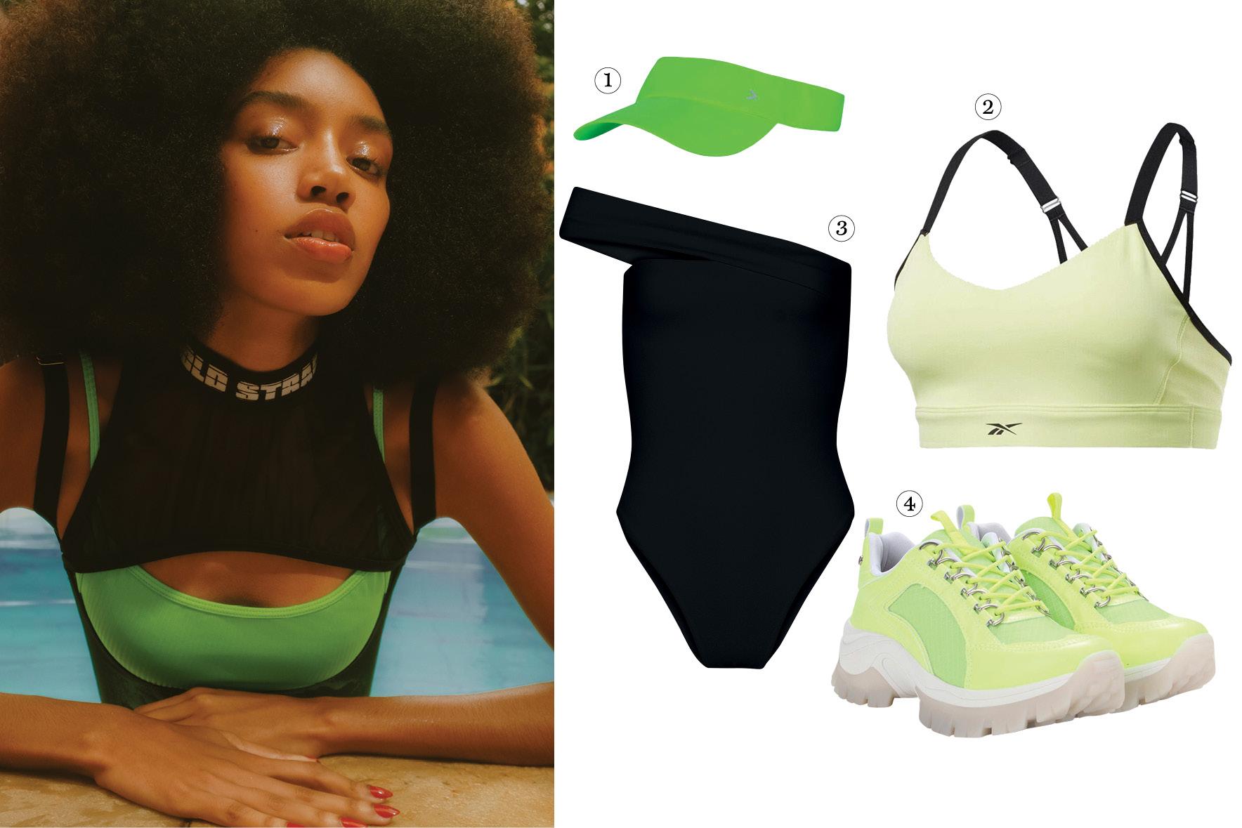 Modelos vestem as roupas do editorial acima e, ao lado, há peças parecidas par copiar o look.