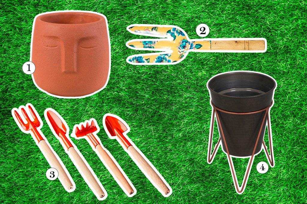 Colagem com utensílios de jardim como cachepôs, pás, garfos e rastelos