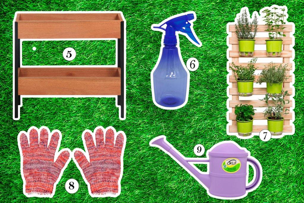 Colagem com utensílios de jardim: floreira, borrifador, horta vertical, luvas e regador
