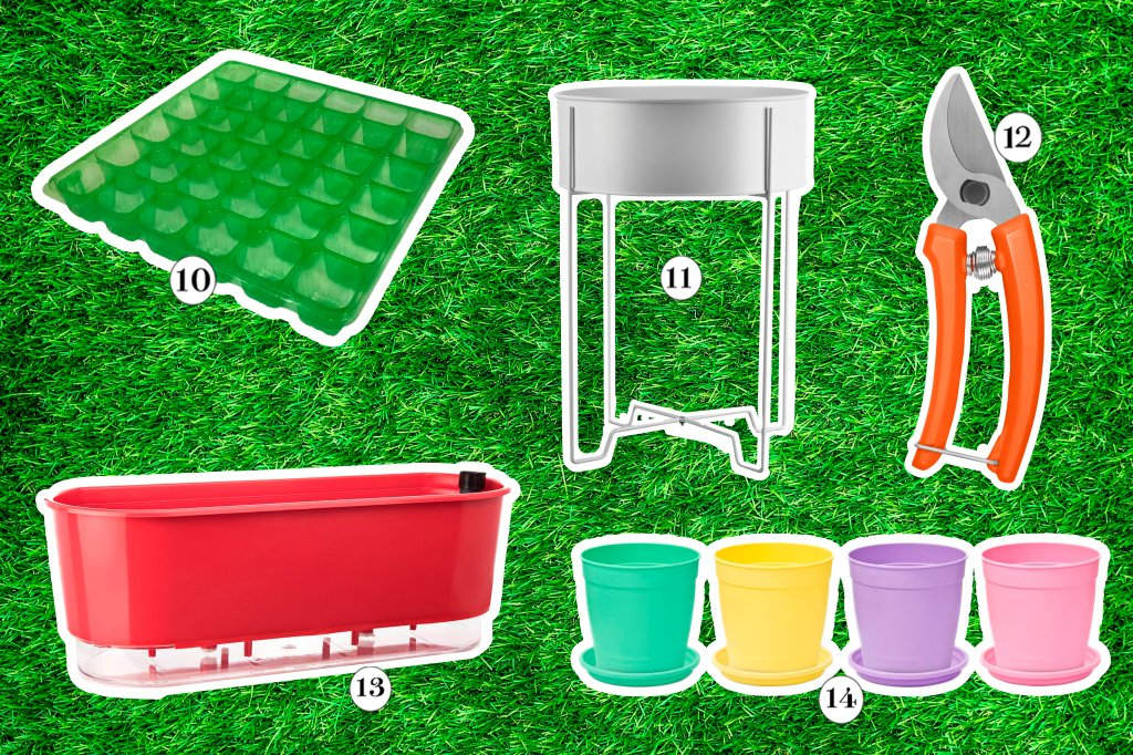 Colagem com utensílios de jardim: sementeira, vasos e tesoura